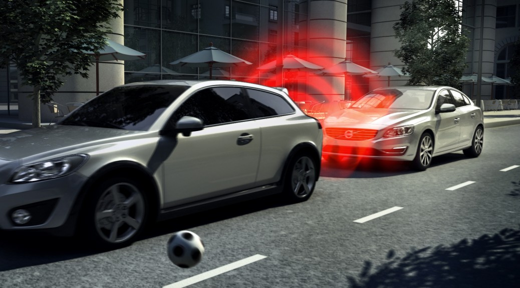 2 cars demonstrating autonomous emergency braking