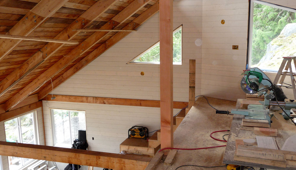Renovations in progress on the interior of a house